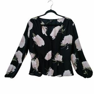Women's black floral peplum top blouse